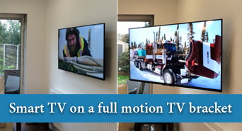 Smart TV on a full motion TV bracket